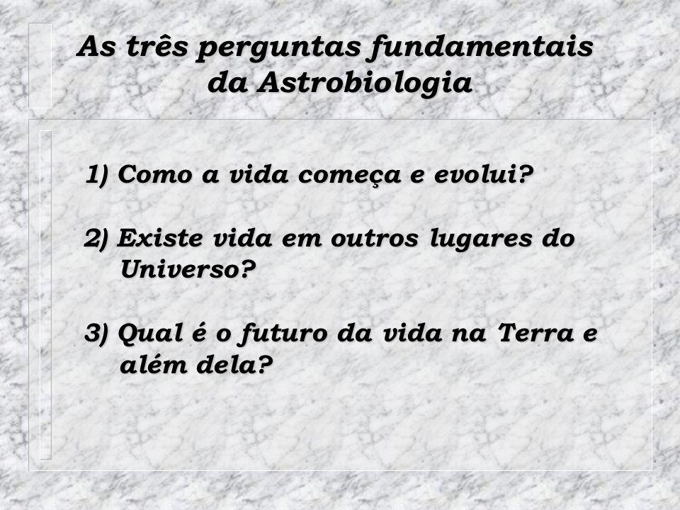 As três perguntas fundamentais da Astrobiologia 1) Como a vida começa e evolui? 2) Existe vida em outros lugares do Universo? Universo? 3) Qual é o fu