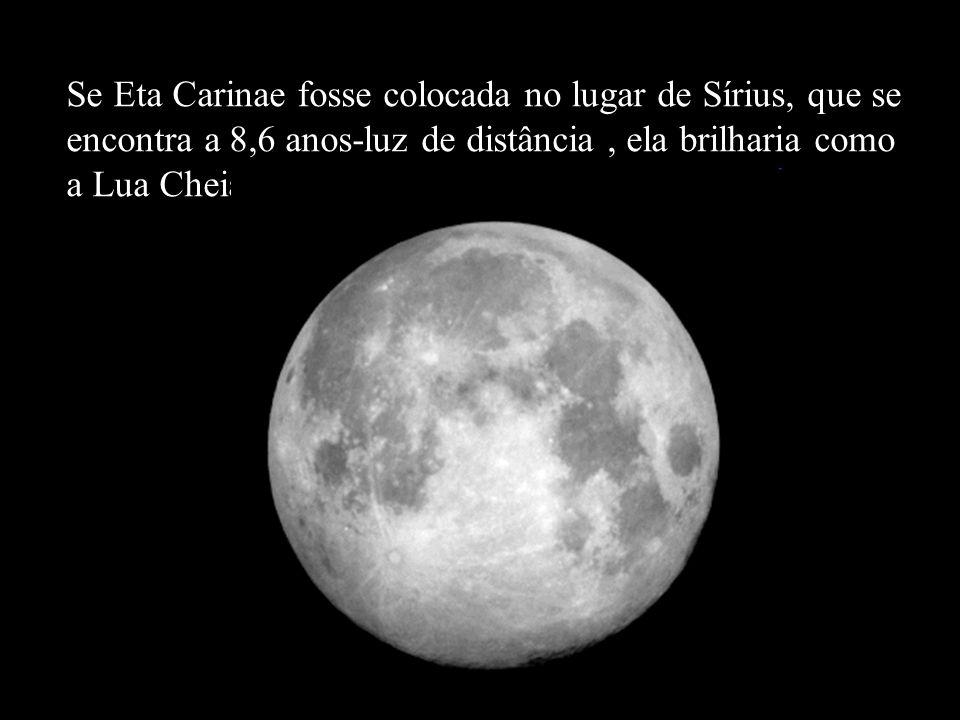 Se Eta Carinae fosse colocada no lugar de Sírius, que se encontra a 8,6 anos-luz de distância, ela brilharia como a Lua Cheia!!