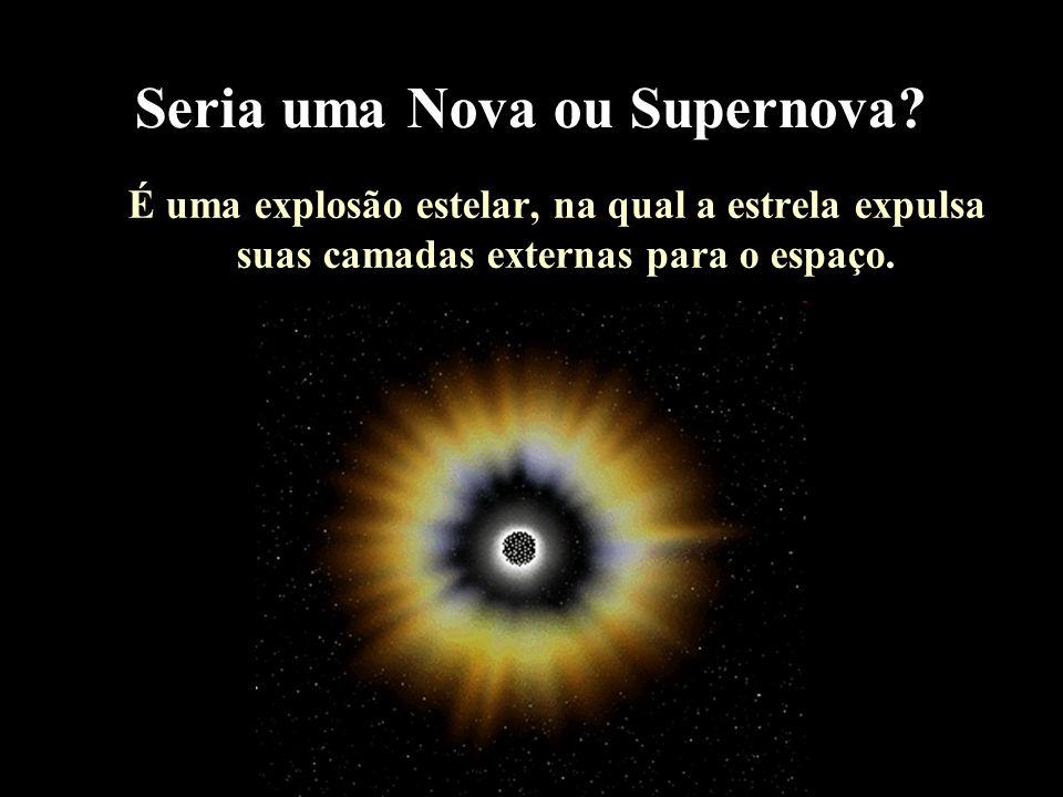 Seria uma Nova ou Supernova? É uma explosão estelar, na qual a estrela expulsa suas camadas externas para o espaço.