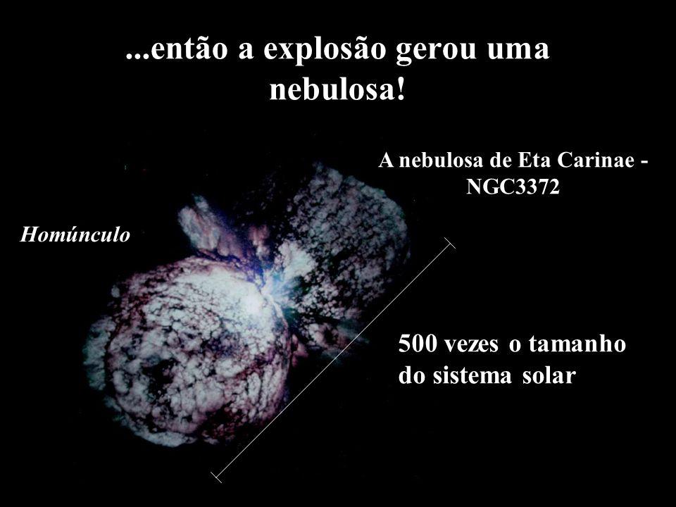 ...então a explosão gerou uma nebulosa! 500 vezes o tamanho do sistema solar Homúnculo A nebulosa de Eta Carinae - NGC3372