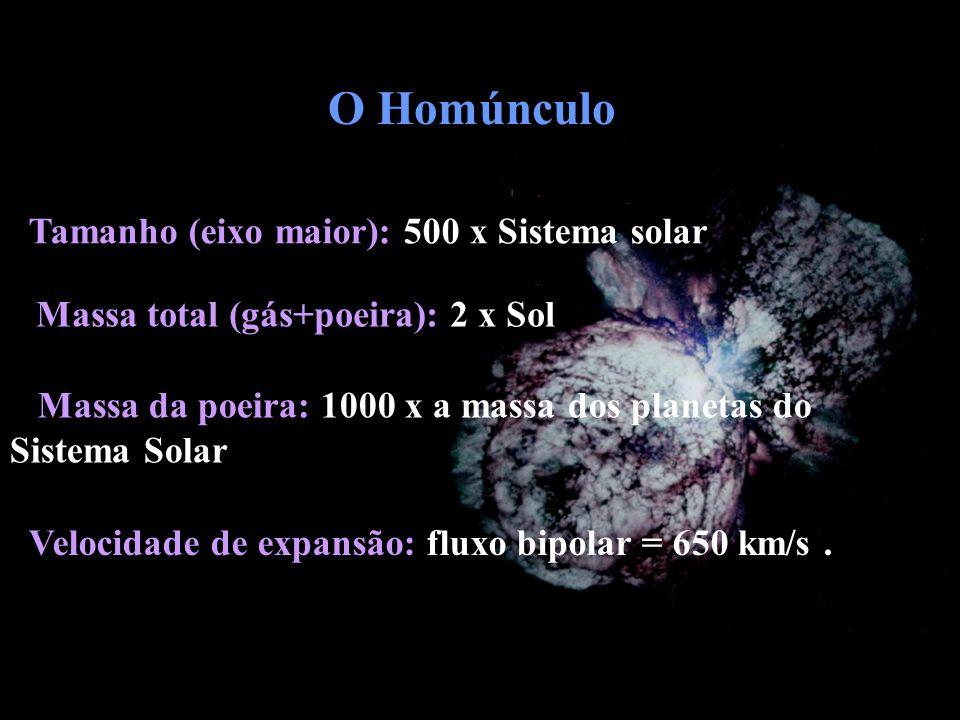 Velocidade de expansão: fluxo bipolar = 650 km/s. Massa da poeira: 1000 x a massa dos planetas do Sistema Solar Massa total (gás+poeira): 2 x Sol Tama