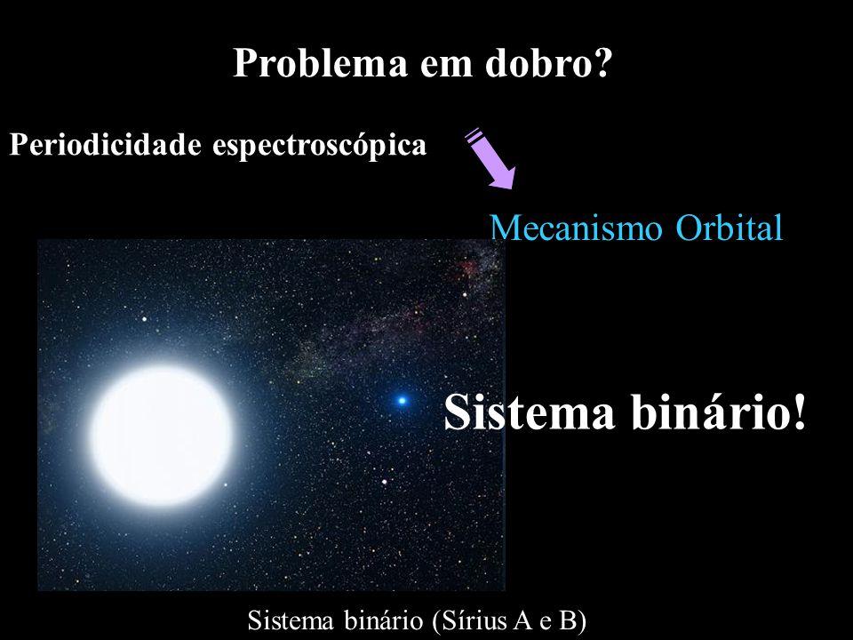 Periodicidade espectroscópica Mecanismo Orbital Problema em dobro? Sistema binário (Sírius A e B) Sistema binário!