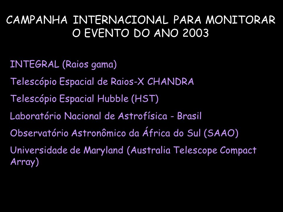 CAMPANHA INTERNACIONAL PARA MONITORAR O EVENTO DO ANO 2003 INTEGRAL (Raios gama) Telescópio Espacial de Raios-X CHANDRA Telescópio Espacial Hubble (HS