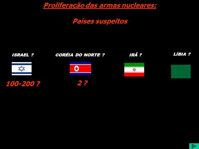 CORÉIA DO NORTE IRÃ . Proliferação das armas nucleares: Países suspeitos LÍBIA .