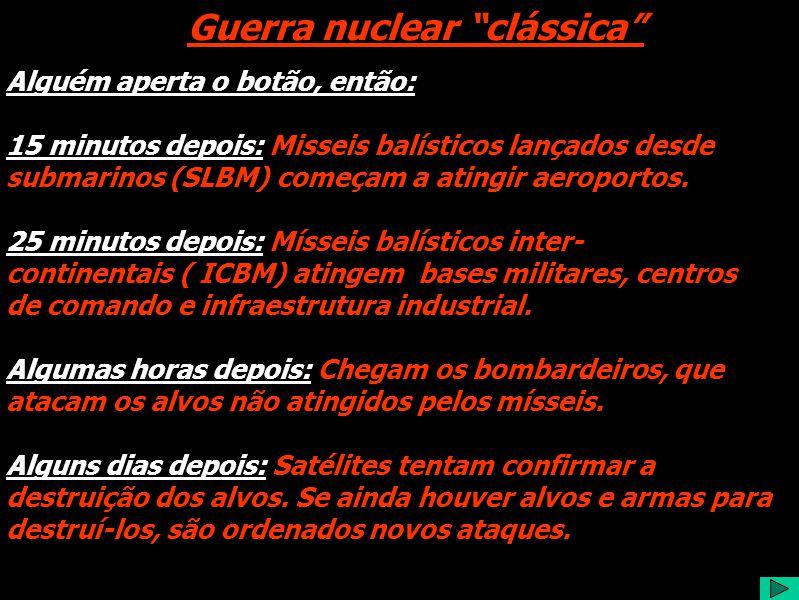Guerra nuclear clássica Alguém aperta o botão, então: 15 minutos depois: Misseis balísticos lançados desde submarinos (SLBM) começam a atingir aeroportos.
