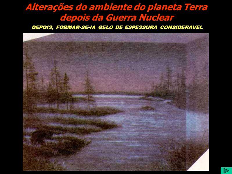 DEPOIS, FORMAR-SE-IA GELO DE ESPESSURA CONSIDERÁVEL Alterações do ambiente do planeta Terra depois da Guerra Nuclear