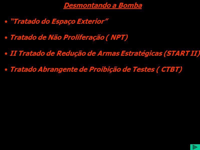 Desmontando a Bomba Tratado do Espaço Exterior Tratado de Não Proliferação ( NPT) II Tratado de Redução de Armas Estratégicas (START II) Tratado Abrangente de Proibição de Testes ( CTBT)