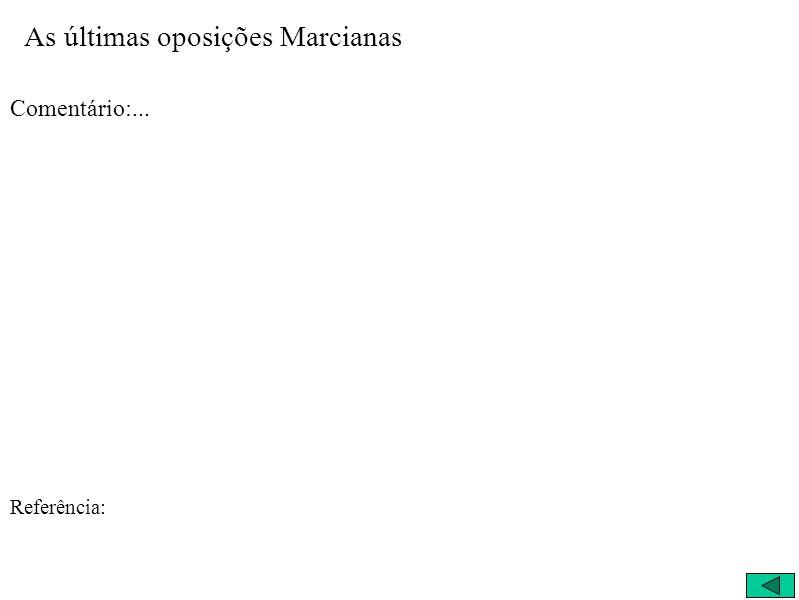 As últimas oposições Marcianas Comentário:... Referência: