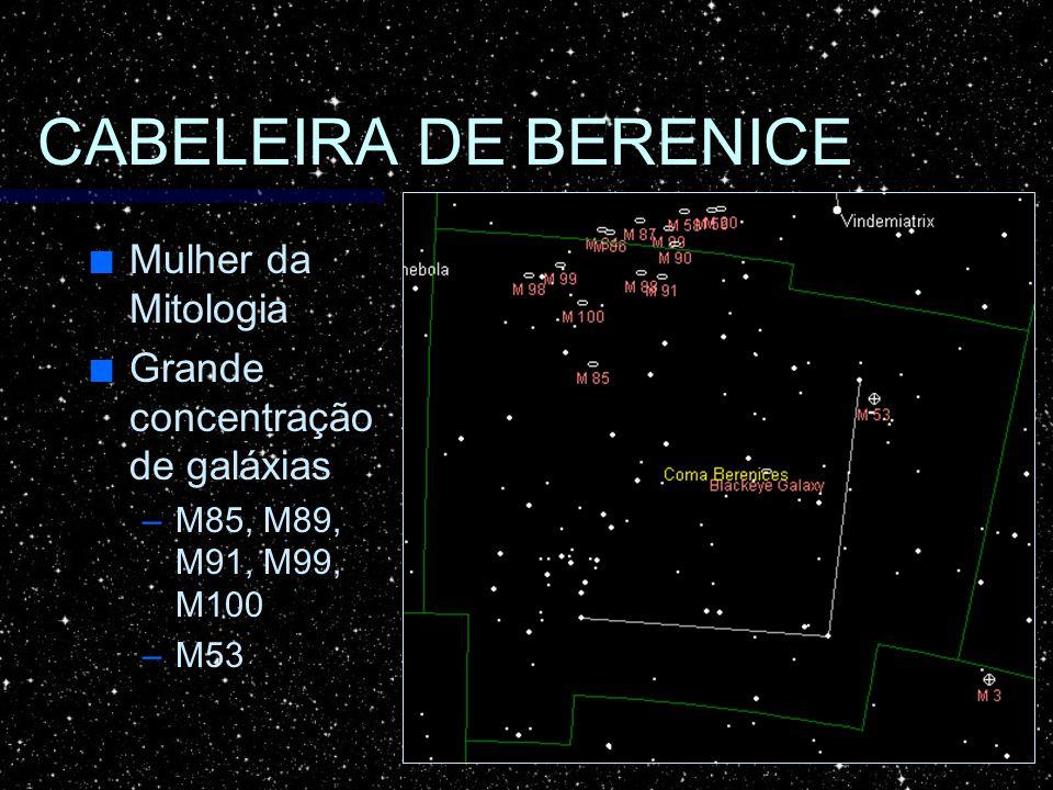 CABELEIRA DE BERENICE Mulher da Mitologia Mulher da Mitologia Grande concentração de galáxias Grande concentração de galáxias –M85, M89, M91, M99, M10