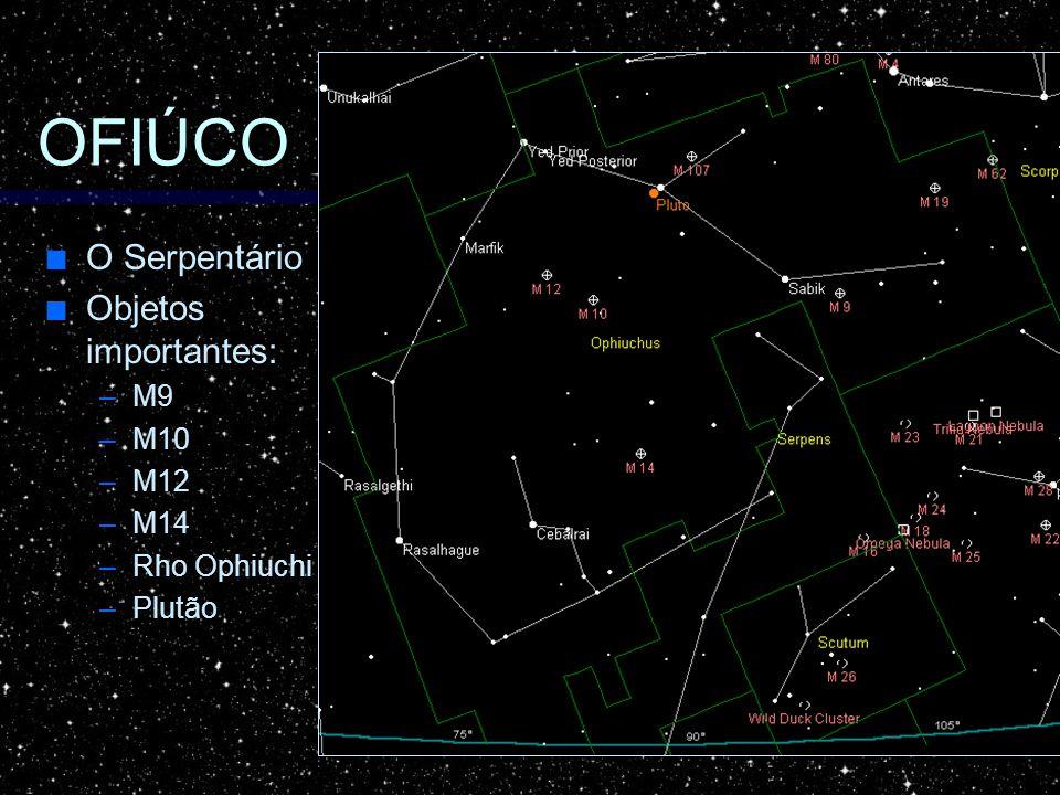 OFIÚCO O Serpentário O Serpentário Objetos importantes: Objetos importantes: –M9 –M10 –M12 –M14 –Rho Ophiuchi –Plutão