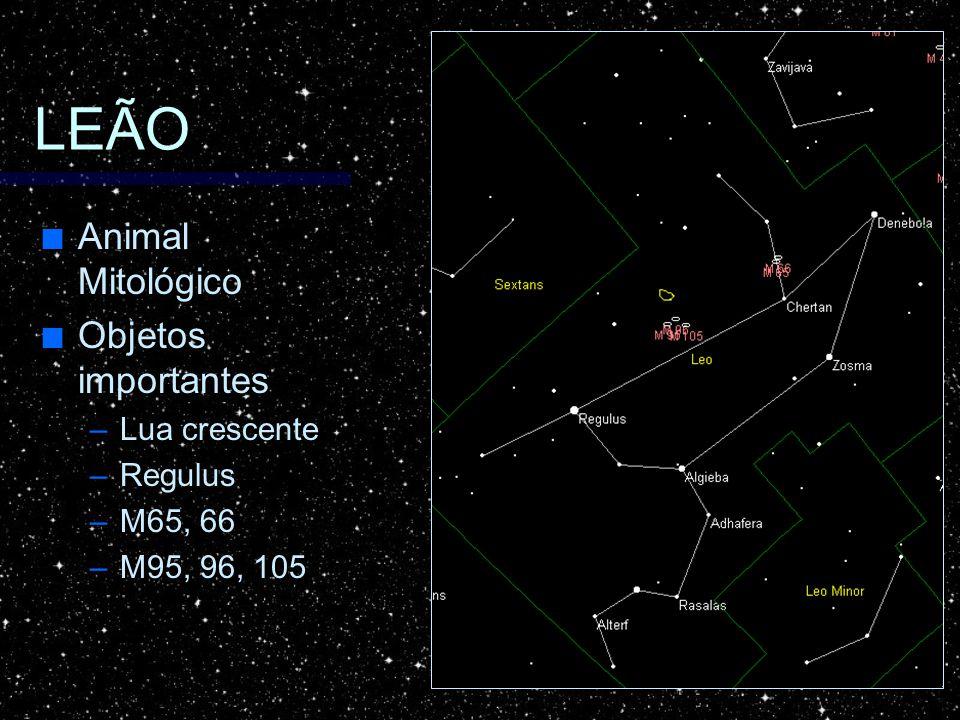 LEÃO Animal Mitológico Animal Mitológico Objetos importantes Objetos importantes –Lua crescente –Regulus –M65, 66 –M95, 96, 105
