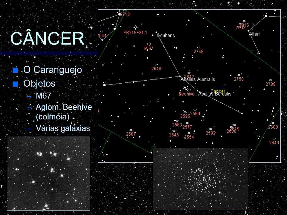 CÂNCER O Caranguejo O Caranguejo Objetos Objetos –M67 –Aglom. Beehive (colméia) –Várias galáxias