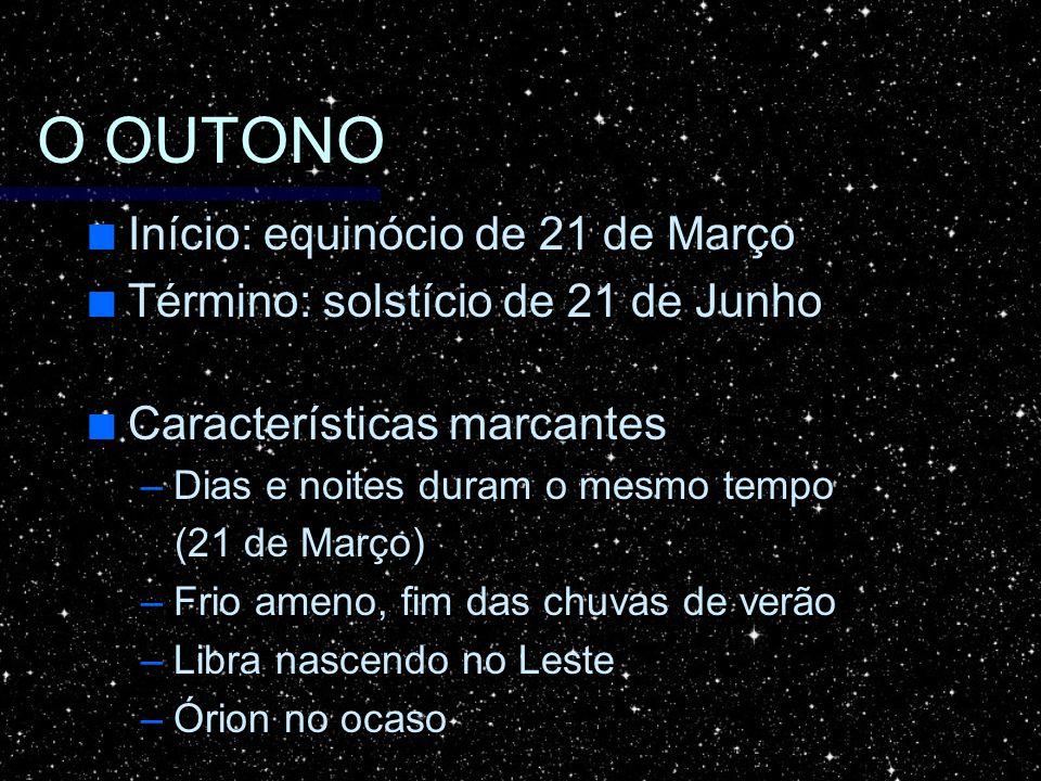 O OUTONO Início: equinócio de 21 de Março Início: equinócio de 21 de Março Término: solstício de 21 de Junho Término: solstício de 21 de Junho Caracte