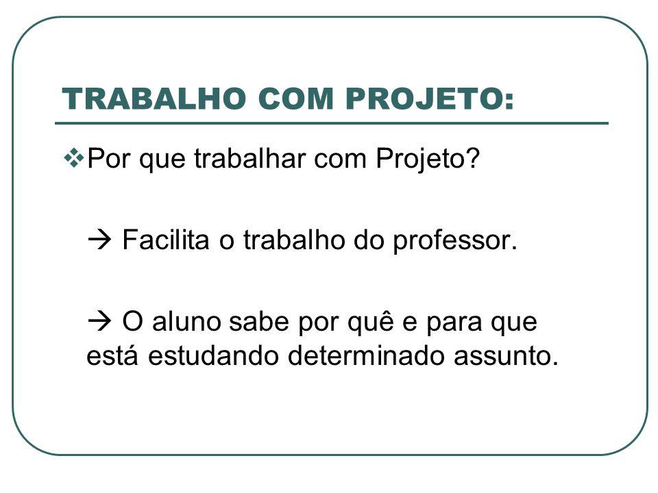 TRABALHO COM PROJETO: Por que trabalhar com Projeto? Facilita o trabalho do professor. O aluno sabe por quê e para que está estudando determinado assu