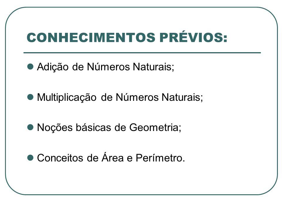 CONHECIMENTOS PRÉVIOS: Adição de Números Naturais; Multiplicação de Números Naturais; Noções básicas de Geometria; Conceitos de Área e Perímetro.