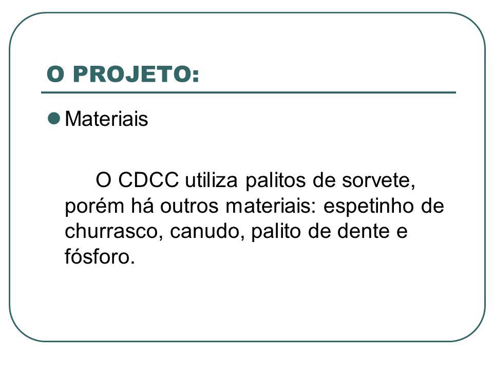 O PROJETO: Materiais O CDCC utiliza palitos de sorvete, porém há outros materiais: espetinho de churrasco, canudo, palito de dente e fósforo.