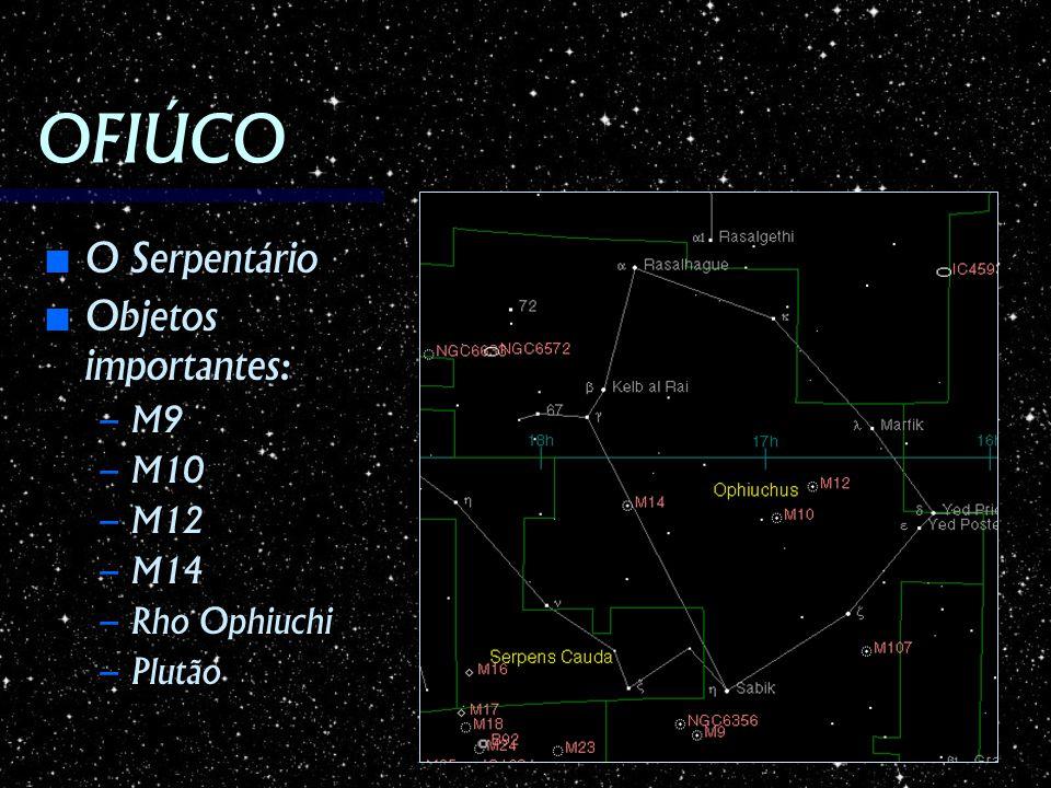 OFIÚCO O Serpentário O Serpentário Objetos importantes: Objetos importantes: – M9 – M10 – M12 – M14 – Rho Ophiuchi – Plutão
