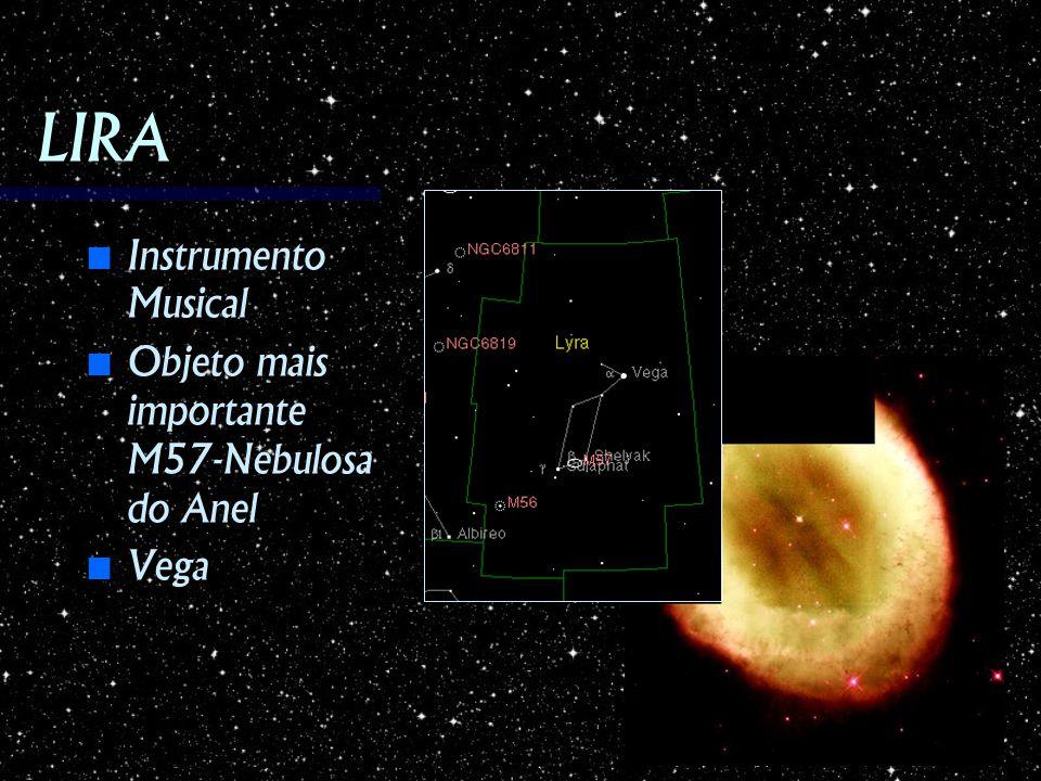 LIRA Instrumento Musical Instrumento Musical Objeto mais importante M57-Nebulosa do Anel Objeto mais importante M57-Nebulosa do Anel Vega Vega