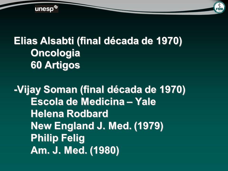 Elias Alsabti (final década de 1970) Oncologia 60 Artigos -Vijay Soman (final década de 1970) Escola de Medicina – Yale Helena Rodbard New England J.