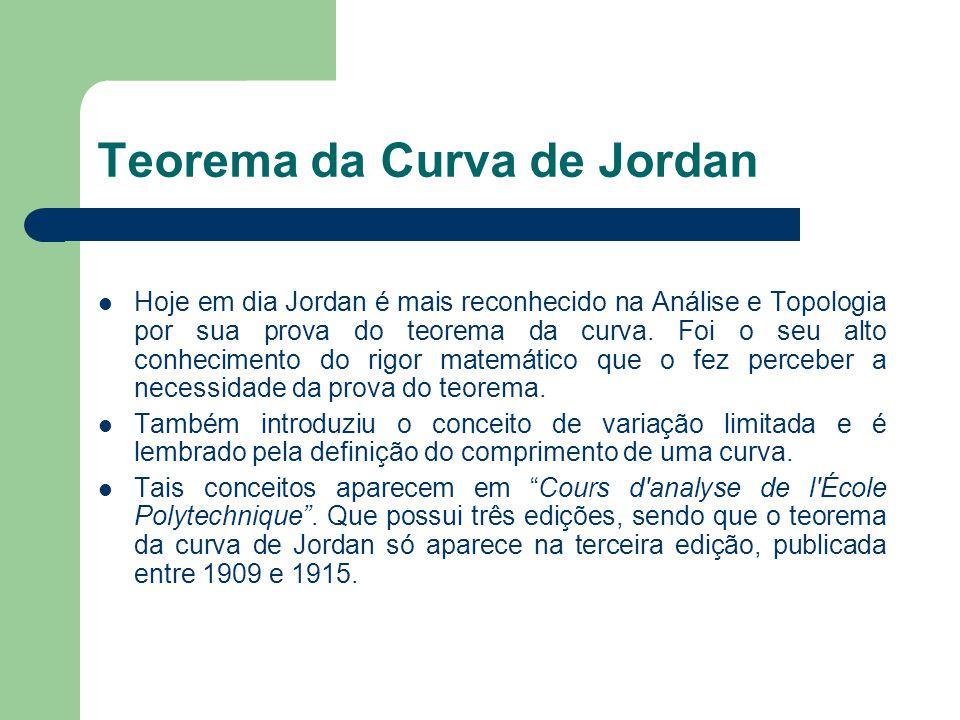 Teorema da Curva de Jordan Hoje em dia Jordan é mais reconhecido na Análise e Topologia por sua prova do teorema da curva. Foi o seu alto conhecimento