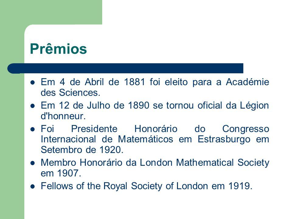 Prêmios Em 4 de Abril de 1881 foi eleito para a Académie des Sciences. Em 12 de Julho de 1890 se tornou oficial da Légion d'honneur. Foi Presidente Ho