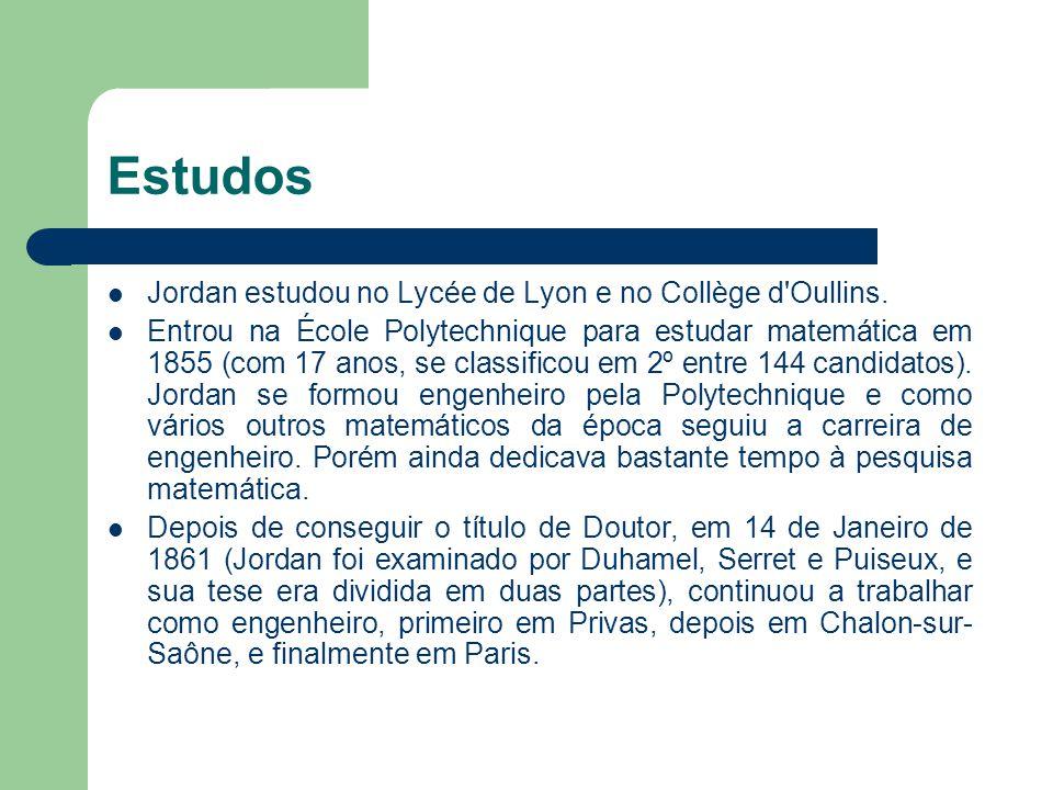 Estudos Jordan estudou no Lycée de Lyon e no Collège d'Oullins. Entrou na École Polytechnique para estudar matemática em 1855 (com 17 anos, se classif