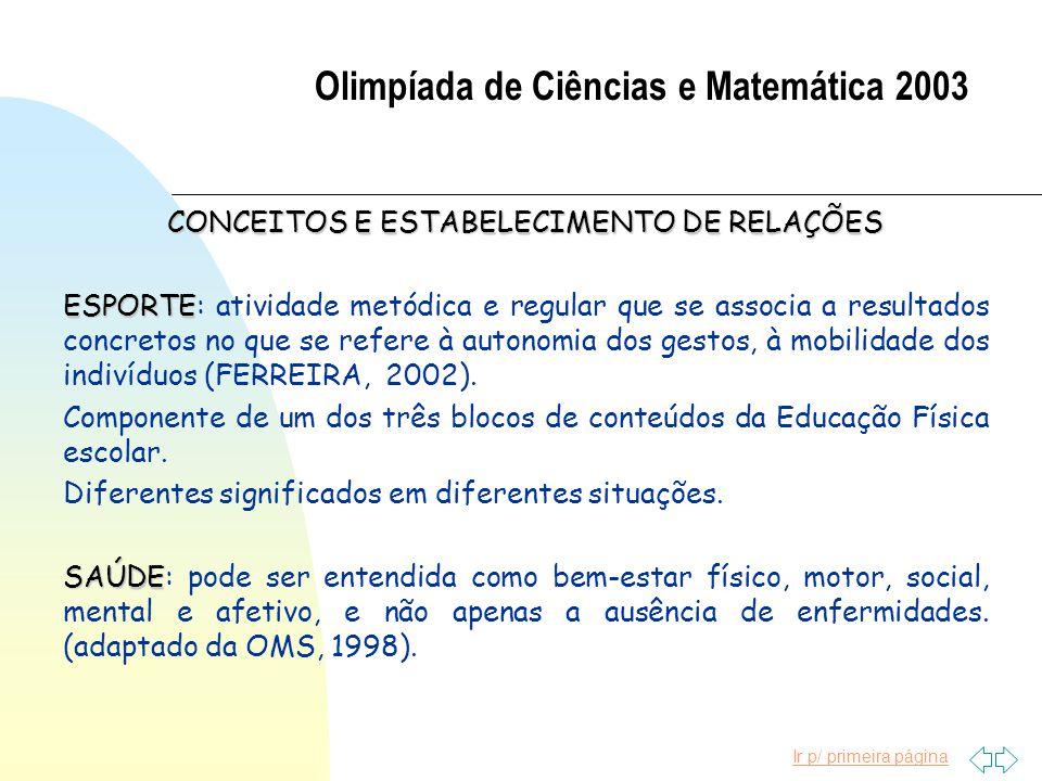 Ir p/ primeira página Olimpíada de Ciências e Matemática 2003 CONCEITOS E ESTABELECIMENTO DE RELAÇÕES ESPORTE ESPORTE: atividade metódica e regular qu