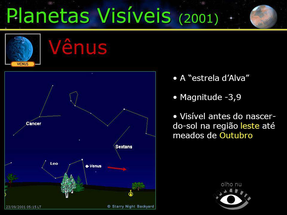 Planetas Visíveis (2001) Vênus A estrela dAlva Magnitude -3,9 Visível antes do nascer- do-sol na região leste até meados de Outubro olho nu 23/09/2001 05:15 LT Leo