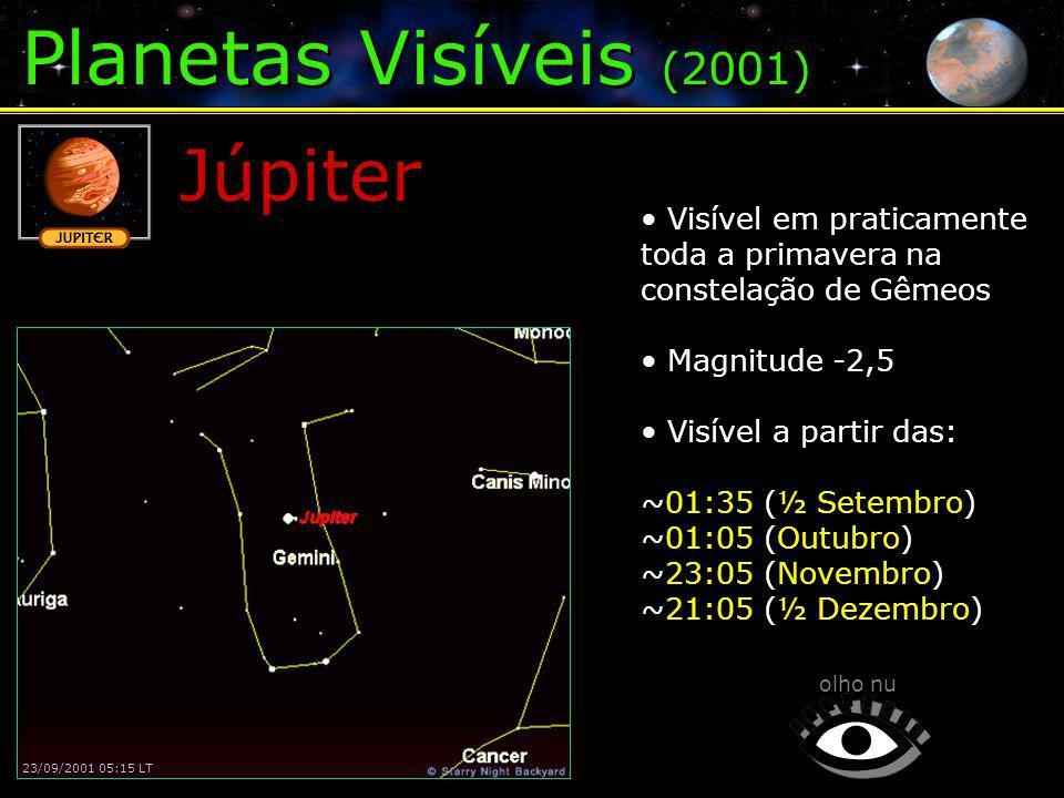 Planetas Visíveis (2001) Júpiter olho nu 23/09/2001 05:15 LT Visível em praticamente toda a primavera na constelação de Gêmeos Magnitude -2,5 Visível a partir das: ~01:35 (½ Setembro) ~01:05 (Outubro) ~23:05 (Novembro) ~21:05 (½ Dezembro)