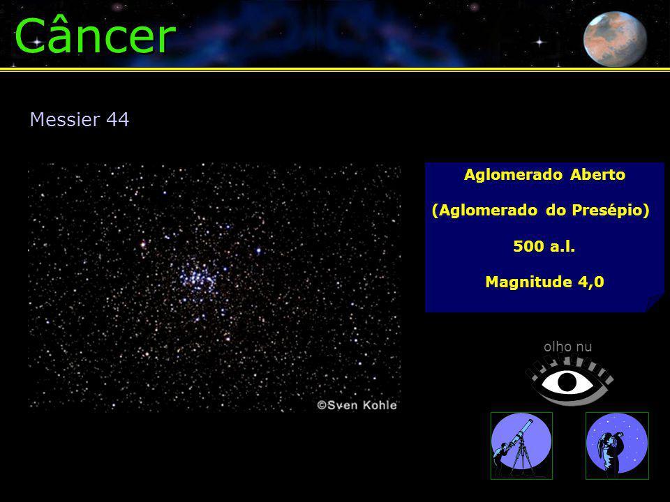 Câncer Aglomerado Aberto (Aglomerado do Presépio) 500 a.l. Magnitude 4,0 Messier 44 olho nu