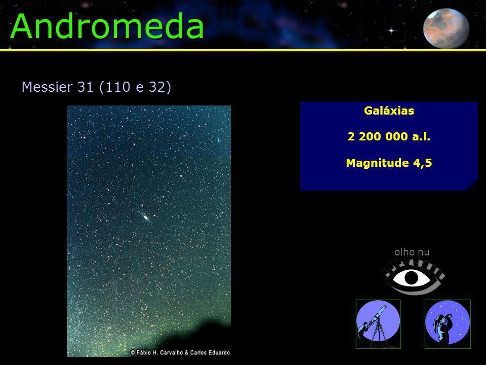 Andromeda Galáxias 2 200 000 a.l. Magnitude 4,5 Messier 31 (110 e 32) olho nu
