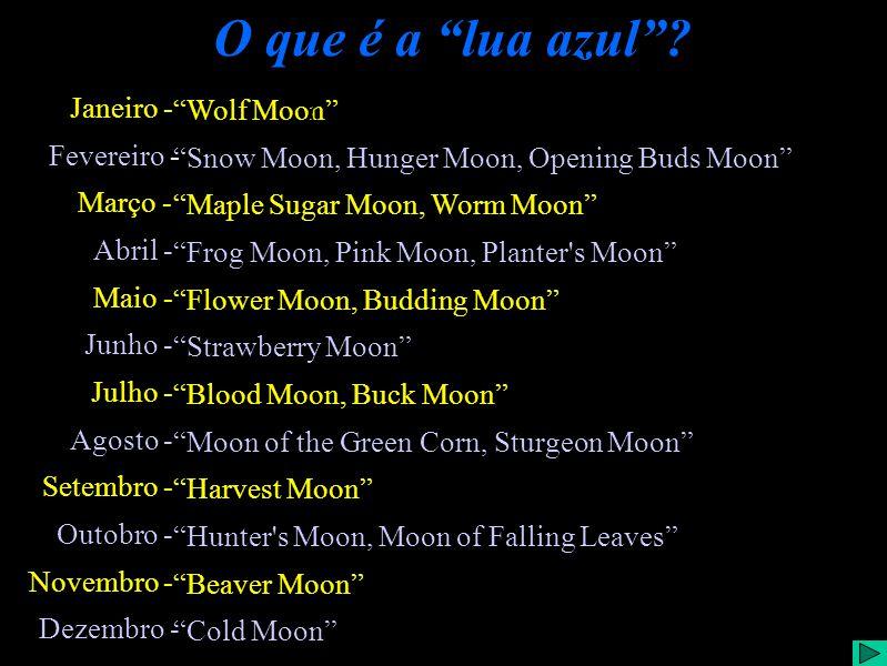 O que é a lua azul? Janeiro - Fevereiro - Março - Abril - Maio - Junho - Julho - Agosto - Setembro - Outobro - Novembro - Dezembro - Wolf Moon Snow Mo