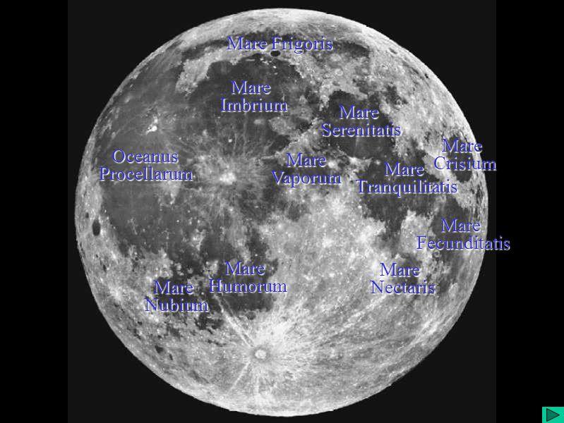 Mares da Lua Mare Frigoris Mare Serenitatis Serenitatis Mare Tranquilitatis Tranquilitatis Mare Fecunditatis Fecunditatis Mare Nectaris Nectaris Mare