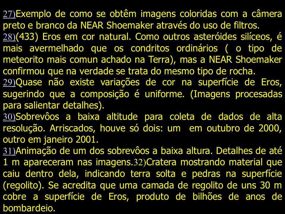 27) 27) Exemplo de como se obtêm imagens coloridas com a câmera preto e branco da NEAR Shoemaker através do uso de filtros.