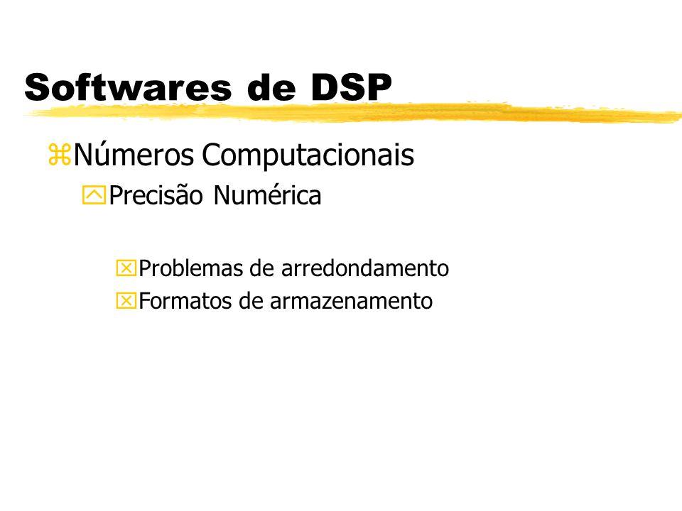 Softwares de DSP zNúmeros Computacionais yPonto Flutuante MantissaExpoente v = (-1) S x M x 2 E-127