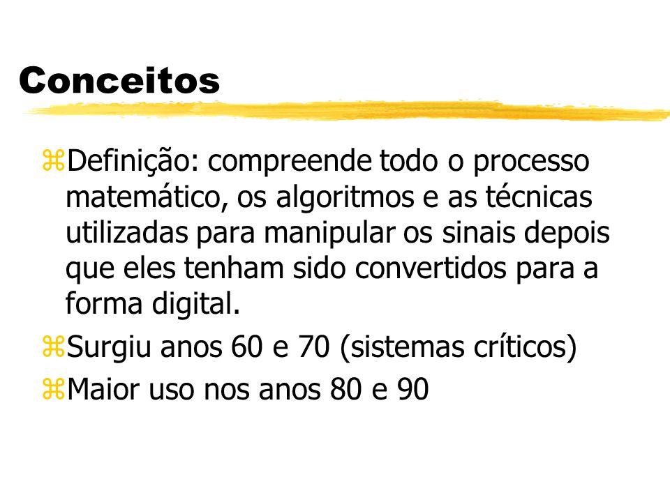 Conceitos zDefinição: compreende todo o processo matemático, os algoritmos e as técnicas utilizadas para manipular os sinais depois que eles tenham sido convertidos para a forma digital.