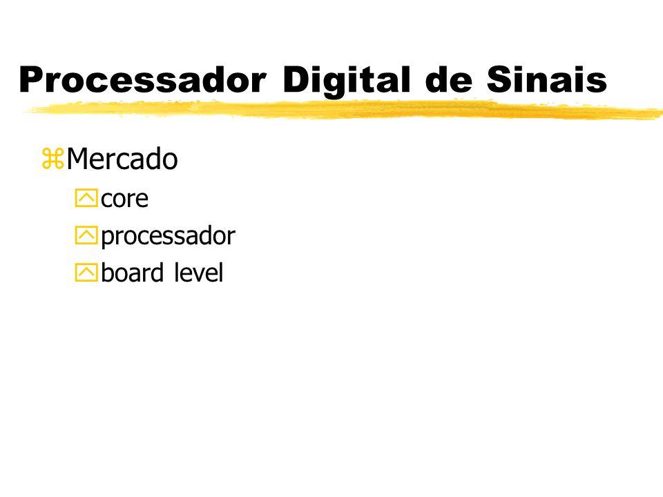 Processador Digital de Sinais zDuas linhas de processadores yManipulação de dados yCálculos matemáticos zDeterminismo da Execução (Timer Clock) zUso de buffer circular zBenchmarks: MIPS, MFLOPS etc