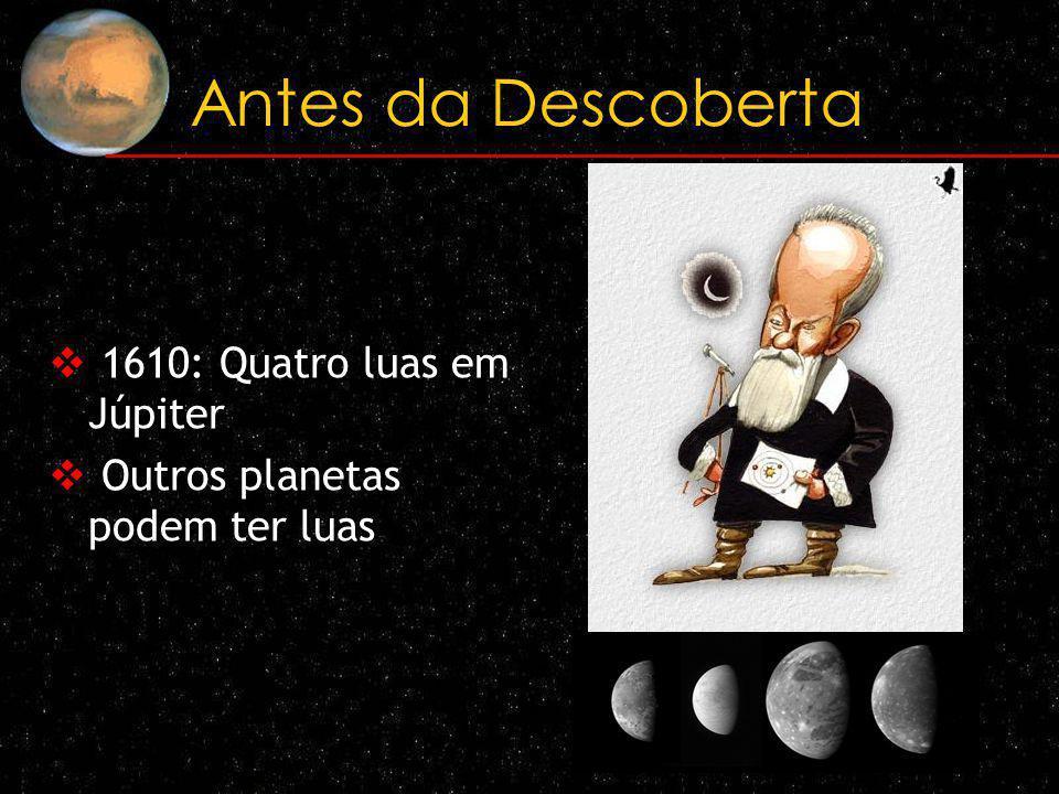 Antes da Descoberta 1610: Quatro luas em Júpiter Outros planetas podem ter luas