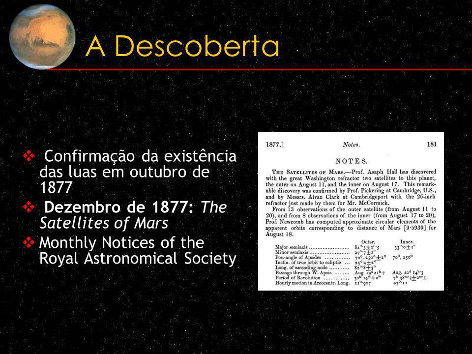 A Descoberta Confirmação da existência das luas em outubro de 1877 Dezembro de 1877: The Satellites of Mars Monthly Notices of the Royal Astronomical