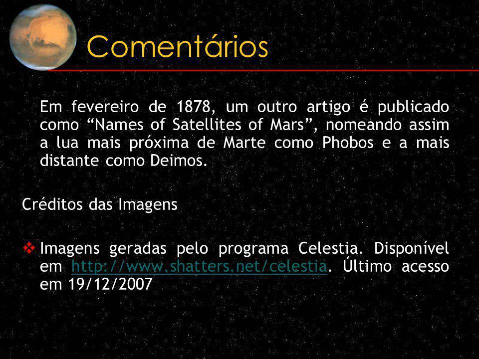 Comentários Em fevereiro de 1878, um outro artigo é publicado como Names of Satellites of Mars, nomeando assim a lua mais próxima de Marte como Phobos