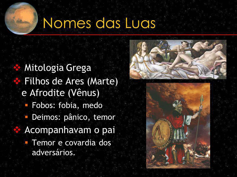 Nomes das Luas Mitologia Grega Filhos de Ares (Marte) e Afrodite (Vênus) Fobos: fobia, medo Deimos: pânico, temor Acompanhavam o pai Temor e covardia
