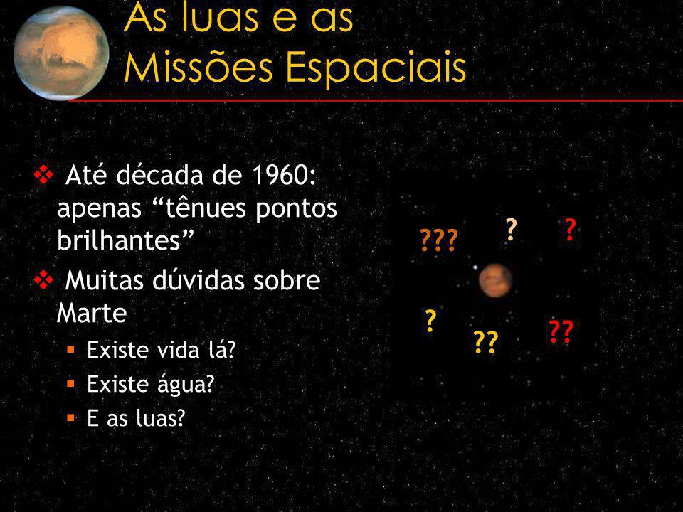 As luas e as Missões Espaciais Até década de 1960: apenas tênues pontos brilhantes Muitas dúvidas sobre Marte Existe vida lá? Existe água? E as luas?