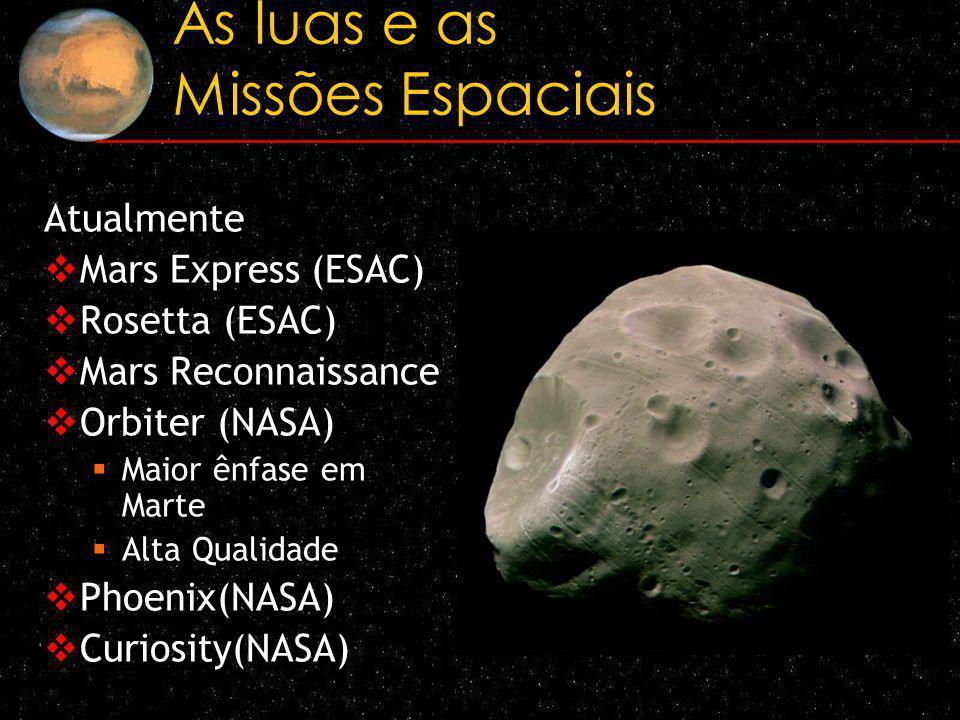 As luas e as Missões Espaciais Atualmente Mars Express (ESAC) Rosetta (ESAC) Mars Reconnaissance Orbiter (NASA) Maior ênfase em Marte Alta Qualidade P
