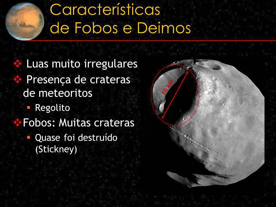 Características de Fobos e Deimos Luas muito irregulares Presença de crateras de meteoritos Regolito Fobos: Muitas crateras Quase foi destruído (Stick