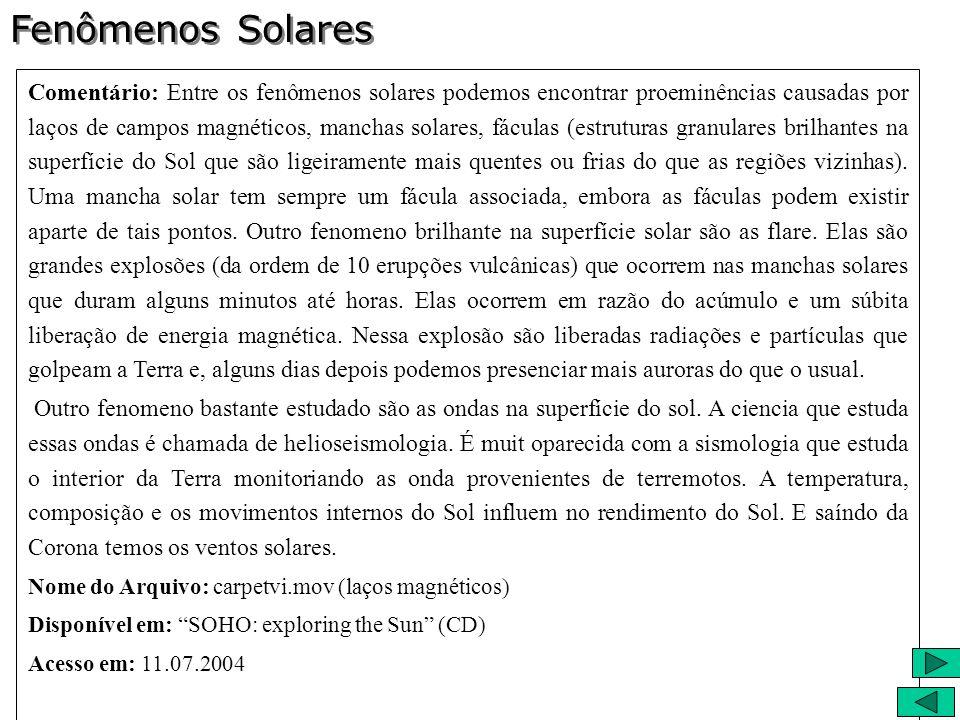 Comentário: Entre os fenômenos solares podemos encontrar proeminências causadas por laços de campos magnéticos, manchas solares, fáculas (estruturas g