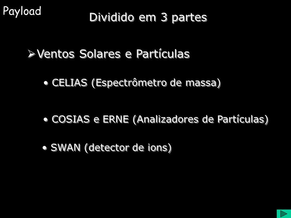 Payload Heliosismologia GOLF e MDI (Espectrômetros de velocidade) VIRGO (Radiometro) Dividido em 3 partes Instrumentos Coronais CDS, EIT, LASCO, SUMER