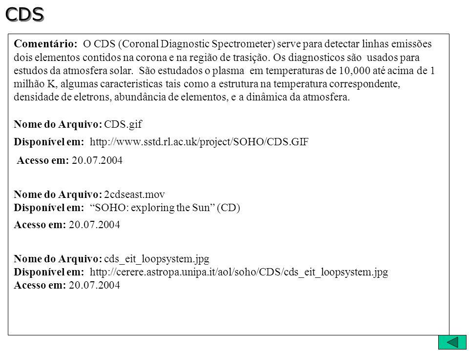Comentário: O CDS (Coronal Diagnostic Spectrometer) serve para detectar linhas emissões dois elementos contidos na corona e na região de trasição. Os