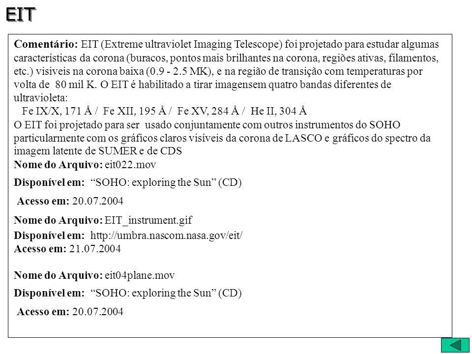 Comentário: EIT (Extreme ultraviolet Imaging Telescope) foi projetado para estudar algumas características da corona (buracos, pontos mais brilhantes