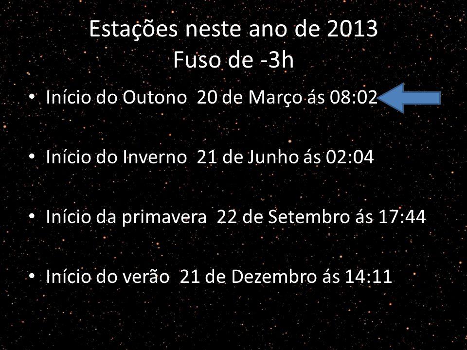 Estações neste ano de 2013 Fuso de -3h Início do Outono 20 de Março ás 08:02 Início do Inverno 21 de Junho ás 02:04 Início da primavera 22 de Setembro ás 17:44 Início do verão 21 de Dezembro ás 14:11
