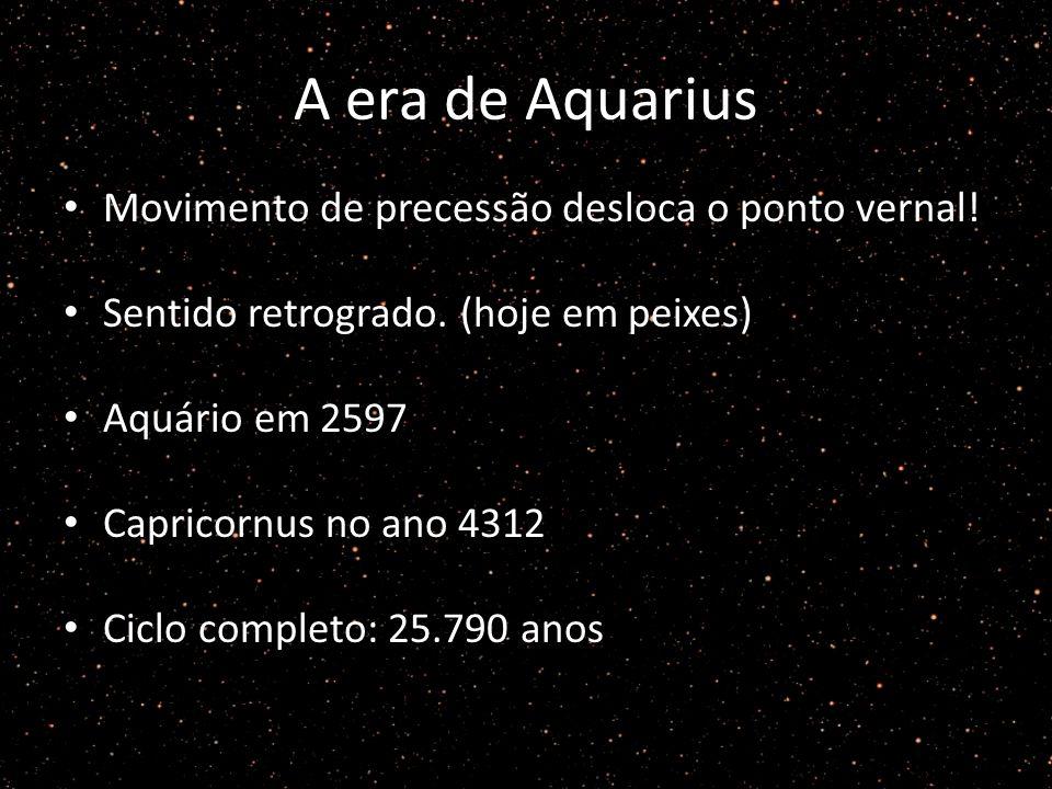 A era de Aquarius Movimento de precessão desloca o ponto vernal.